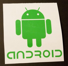 Android robot with text